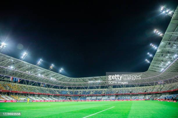 General view of Bielsko-Biala City Stadium at night the UEFA Women's EURO 2021 qualifying match between Poland and Czech Republic. .