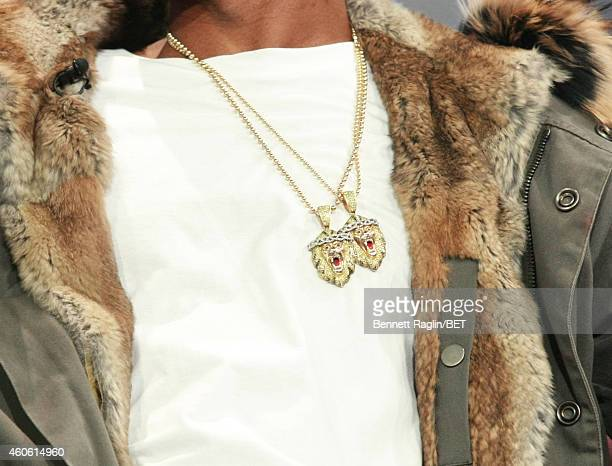 A general view of Big Sean's necklace during 106 Park at BET studio on December 17 2014 in New York City