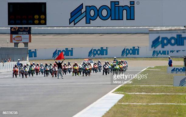 General view of bikes ready to leave the grid at the start during the 125cc race of the MotoGP World Championship Grand Prix of Japan at Twin Ring...