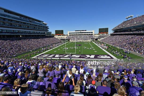 General view of Bill Snyder Family Football Stadium during a game between the Kansas State Wildcats and TCU Horned Frogs on October 19, 2019 in...