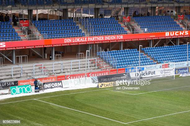 General view of BioNutria Park Randers prior to the Danish Alka Superliga match between Randers FC and FC Helsingor at BioNutria Park Randers on...
