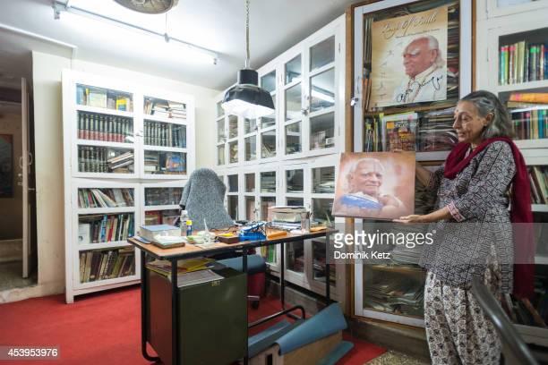 General view of B.K.S. Iyengar desk at the Memorial Yoga Institute in March of 2012 in Pune, India.