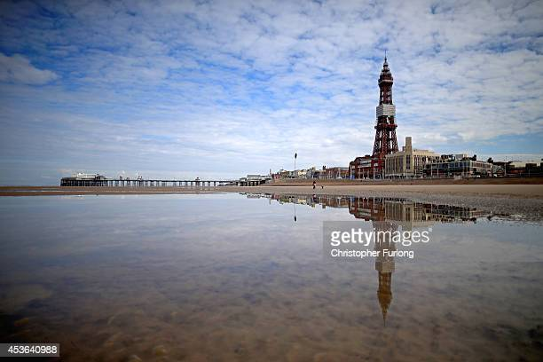 A general view of Blackpool Tower and beach where visitor numbers have been the highest in decades according to the #Blackpoolsback campaign on...