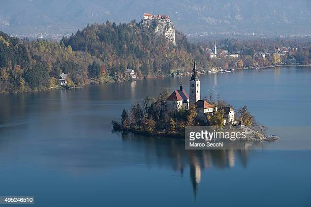 A general view of Bled island with its 17thcentury church on November 1 2015 in Bled Slovenia Bled Lake in the Julian Alps is known as one of the...