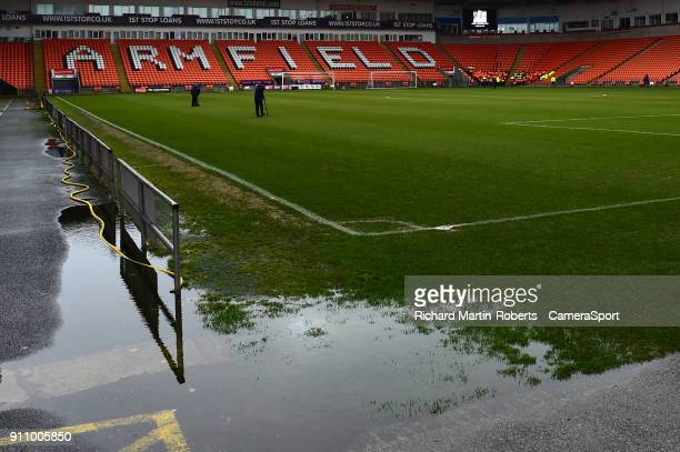 General View of Bloomfield Rd home of Blackpool FC as the match is postponed prior to kick off due to a waterlogged pitch during the Sky Bet League...