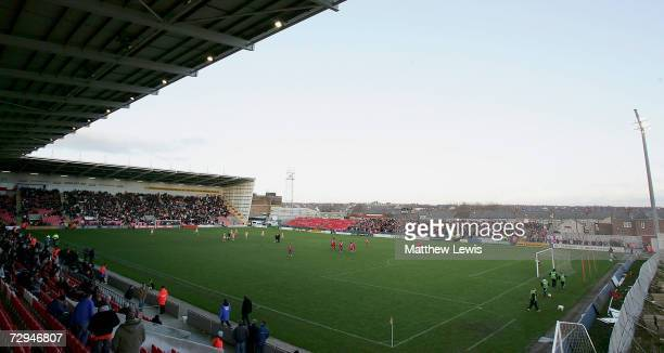 A general view of Bloomfield Road Stadium during the FA Cup sponsored by EON Third Round match between Blackpool and Aldershot Town at Bloomfield...