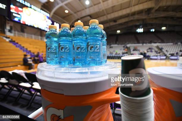 A general view of blue Gatorade bottles with a container of water and cups prior to a game between the Illinois Fighting Illini and the Northwestern...