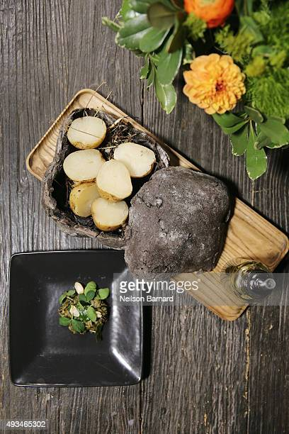 General view of Blue Hill at Stone Barns' Cornell Dropout Potato Stamppot, compost crust, cover crop condiments at The New York Times Food For...