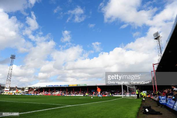 A general view of Blundell Park home of Grimsby Town FC during the Sky Bet League Two match between Grimsby Town and Lincoln at Blundell Park on...