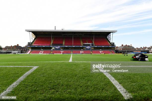 A general view of Blundell Park home of Grimsby Town FC prior to the Sky Bet League Two match between Grimsby Town and Lincoln at Blundell Park on...