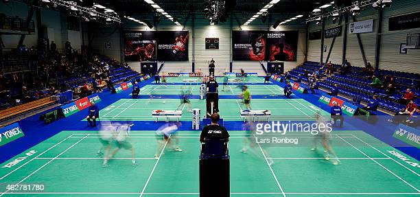 General view of blur action during the Danish Badminton Championships at Frederiksberg Hallen on February 5 2015 in Frederiksberg Denmark