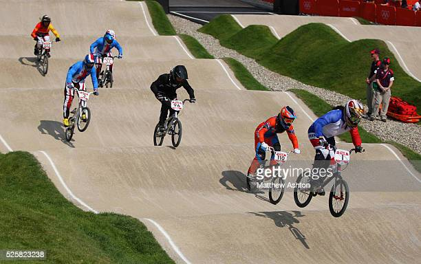 General view of BMX riders during the BMX semi-finals during the 2012 London Olympic Summer Games at the BMX track, Olympic Park, London, England, UK...