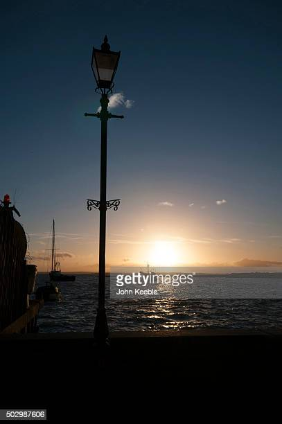 A general view of boats at sunset on the Thames Estuary on December 29 2015 in Leigh on Sea England