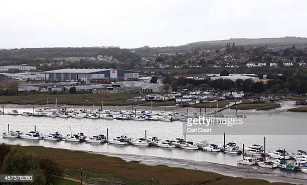 A general view of boats on the River Medway between Rochester and Strood on October 17 2014 from Rochester Castle in Rochester England Rochester and...