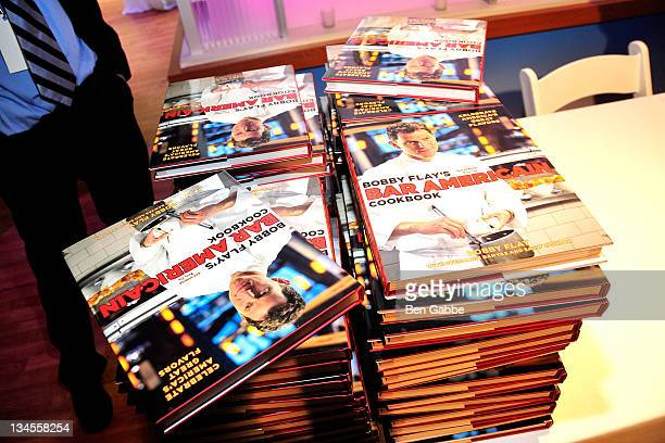 A general view of Bobby Flay's Bar America Cookbook at the Aetna Healthy Food Fight regional semifinal cookoff at ABC Studios on December 2 2011 in...