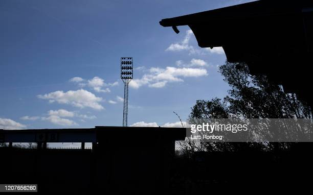 General view of Boldklubben Frem home ground Valby Stadion closed for sports due to the Coronavirus infection sanctions on March 19 2020 in Valby...