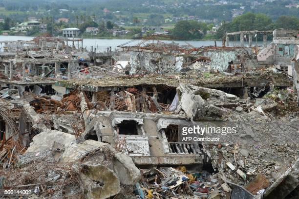 A general view of bombedout buildings and homes are seen in what was the main battle area in Marawi on the southern island of Mindanao on October 25...
