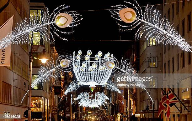 A general view of Bond Street's spectacular christmas illuminations on November 13 2014 in London England The new West End Company's Bond Street...