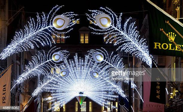 General view of Bond Street's spectacular christmas illuminations on November 13, 2014 in London, England. The new West End Company's Bond Street...