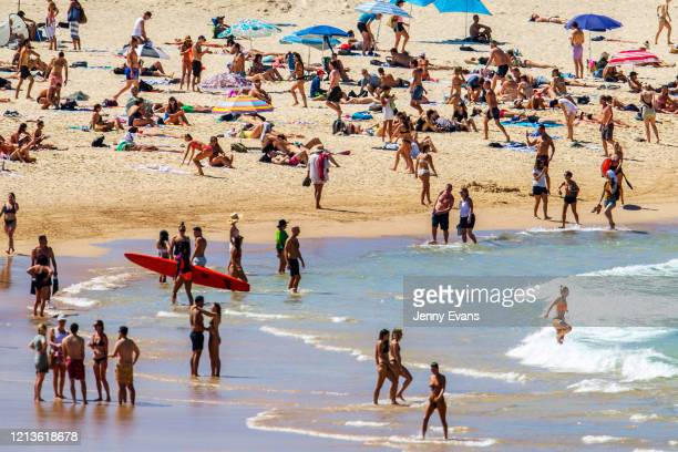 A general view of Bondi Beach is seen on March 20 2020 in Sydney Australia The Australian government has banned nonessential gatherings of 100 or...