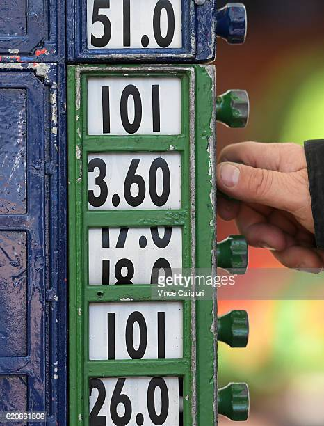General view of bookmaker adjusting odds on Oaks Day at Flemington Racecourse on November 3 2016 in Melbourne Australia