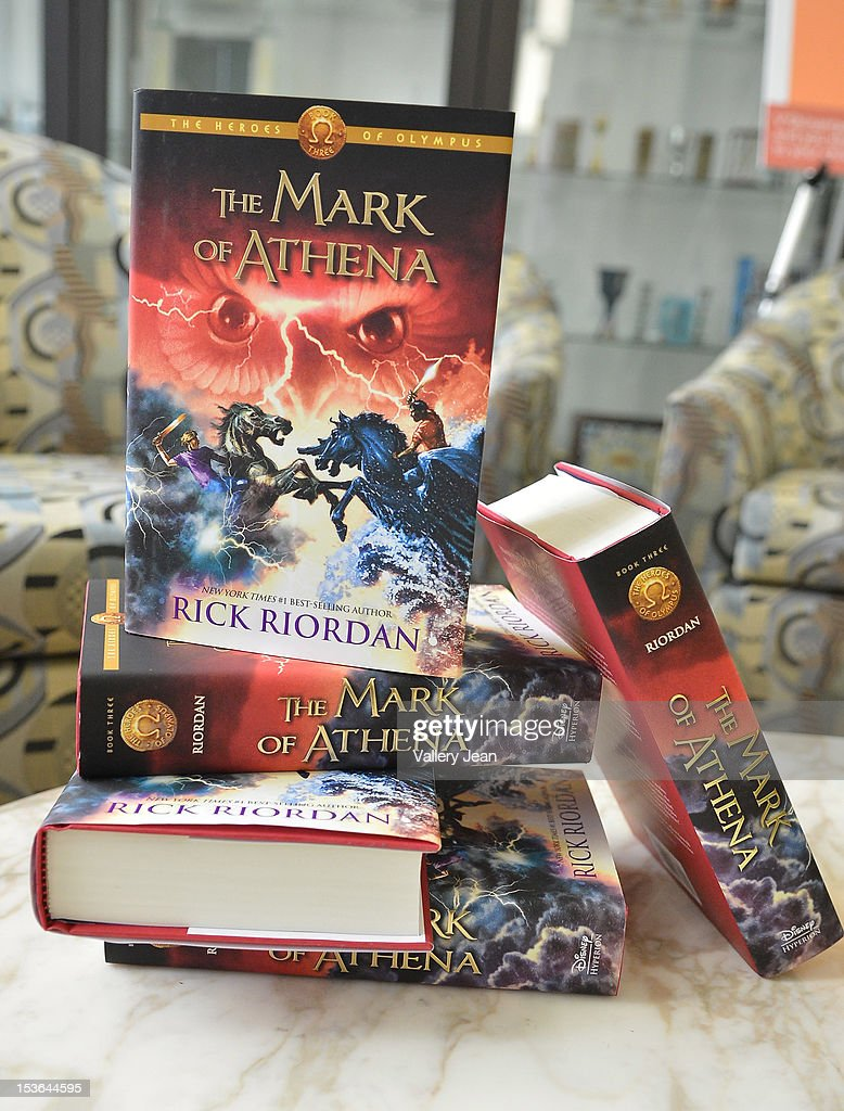 General view of books on display during Rick Riordan's presentation of 'The Mark of Athena' at Temple Judea on October 7, 2012 in Miami, Florida.