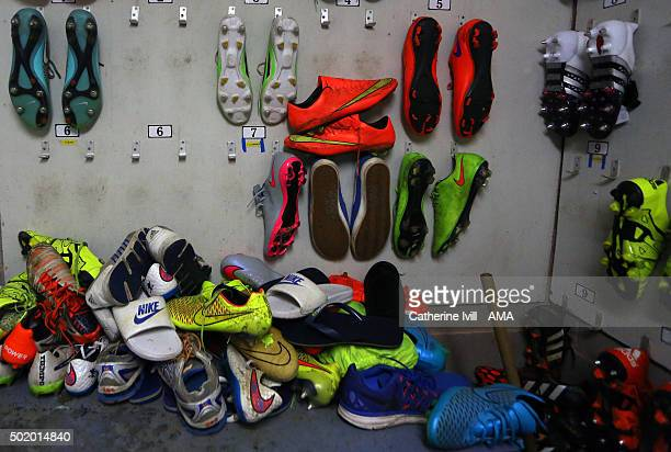 General view of boots hanging up in the boot room the Sky Bet League One match between Shrewsbury Town and Swindon Town at New Meadow on December 19...