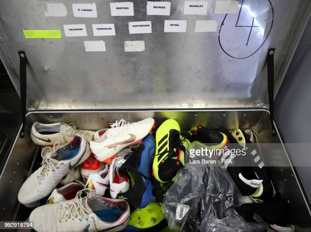 A general view of boots inside the Belgium dressing room prior to the 2018 FIFA World Cup Russia Quarter Final match between Brazil and Belgium at...
