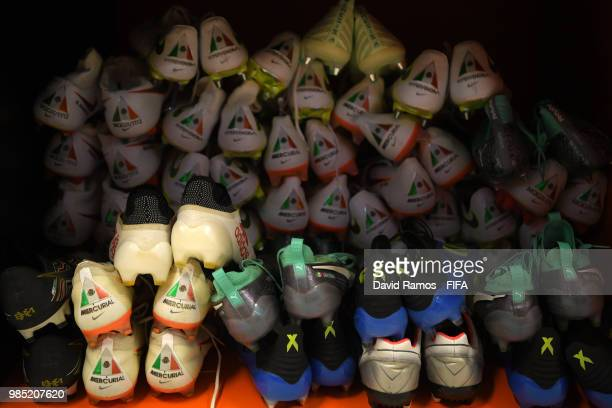 A general view of boots inside the Mexico dressing room prior to the 2018 FIFA World Cup Russia group F match between Mexico and Sweden at...