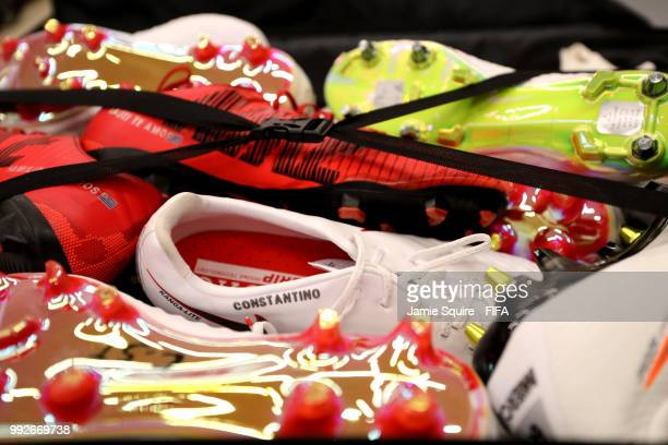 General view of boots inside the Uruguay dressing room prior to the 2018 FIFA World Cup Russia Quarter Final match between Uruguay and France at...