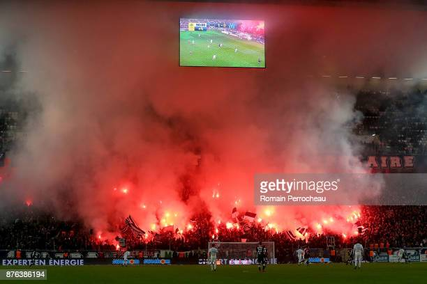 General view of Bordeaux' fans during the Ligue 1 match between FC Girondins de Bordeaux and Olympique Marseille at Stade Matmut Atlantique on...