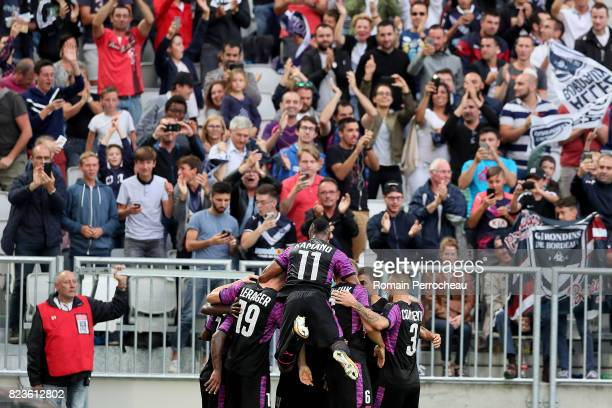 General view of Bordeaux' team afetr the first goal of Younousse Sankhare during the UEFA Europa League qualifying match between Bordeaux and...