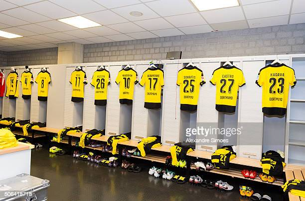 General view of Borussia Dortmund's changing room prior to the Bundesliga match between Borussia Moenchengladbach and Borussia Dortmund at...