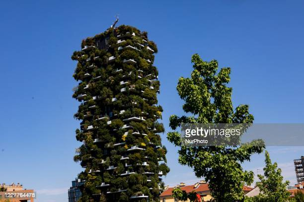 General view of Bosco Verticale during a summer month, Milano, Italy, on July 22 2020