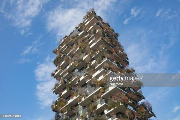 General view of Bosco Verticale in Milan Italy on January 07 2020 Bosco Verticale is a pair of residential towers in the Porta Nuova district of...
