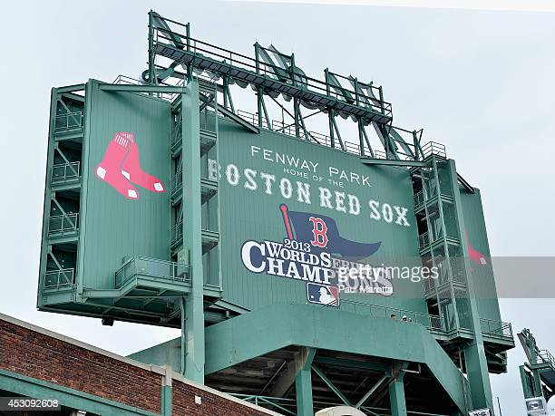 A general view of Boston's Fenway Park and the Boston Red Sox 2013 World Series Champions sign on August 2 2014 in Boston