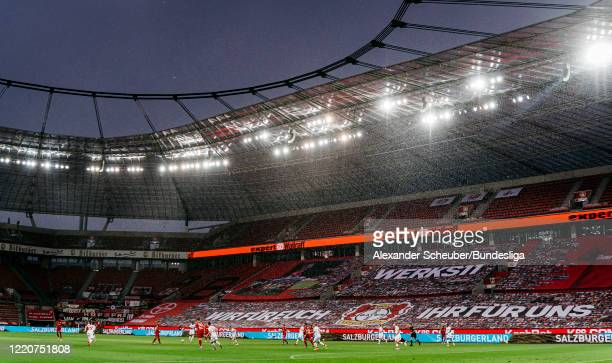 General view of both teams playing during the Bundesliga match between Bayer 04 Leverkusen and 1. FC Koeln at BayArena on June 17, 2020 in...
