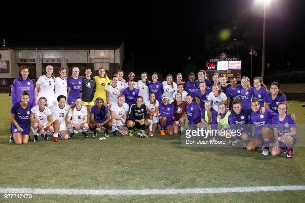A general view of both the Florida State Seminoles and the Orlando Pride teams after their preseason match at the Seminole Soccer Complex on the...