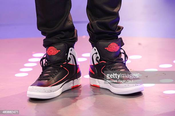 A general view of Bow Wow's shoes during 106 Park at BET studio on April 9 2014 in New York City