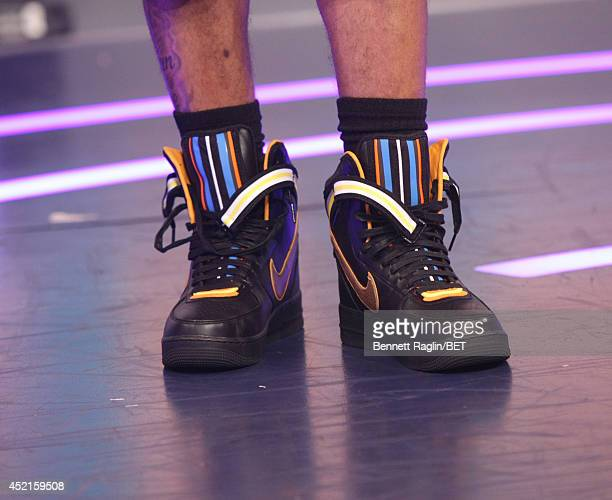A general view of Bow Wow's shoes during 106 Park at Bet studio on July 14 2014 in New York City