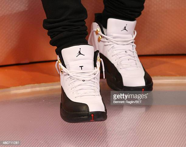 A general view of Bow Wow's shoes during 106 Park at BET studio on March 25 2014 in New York City