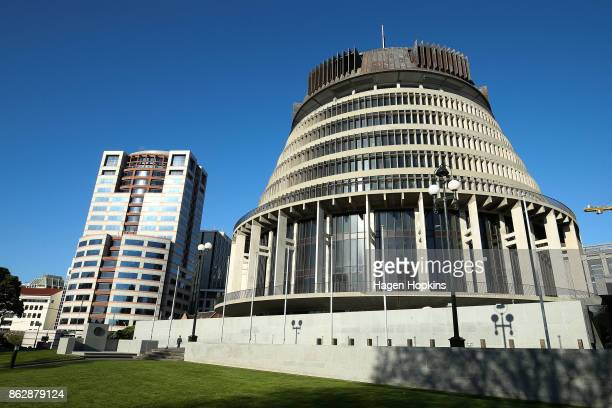 A general view of Bowen House and The Beehive prior to a NZ First announcement at Parliament on October 19 2017 in Wellington New Zealand After weeks...
