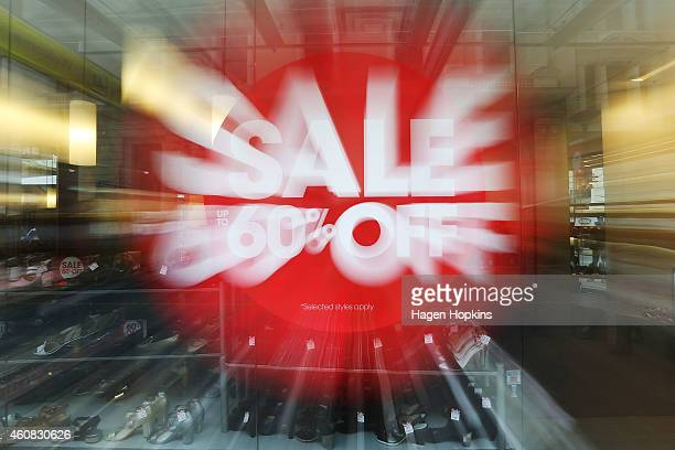 A general view of Boxing Day sale signage on December 26 2014 in Wellington New Zealand Boxing Day is one of the busiest days for retail outlets in...
