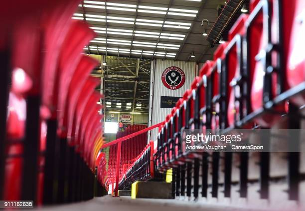 A general view of Bramall Lane home of Sheffield United FC prior to the The Emirates FA Cup Fourth Round match between Sheffield United and Preston...