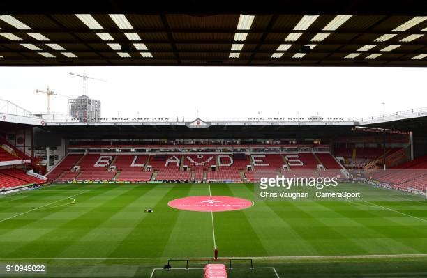 A general view of Bramall Lane home of Sheffield United prior to the The Emirates FA Cup Fourth Round match between Sheffield United and Preston...
