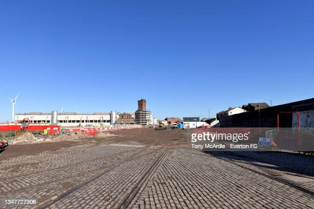 October 15: A general view of Bramley-Moore Dock as construction of a new stadium for Everton FC continues on October 15 2021 in Liverpool, England.