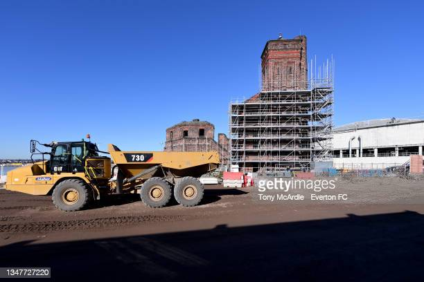 October 15: A general view of Bramley-Moore Dock during dock as construction of a new stadium for Everton FC continues on October 15 2021 in...