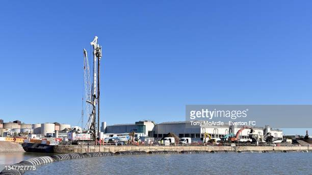 October 15: A general view of Bramley-Moore Dock during dock during the foundation piling stage as construction of a new stadium for Everton FC...