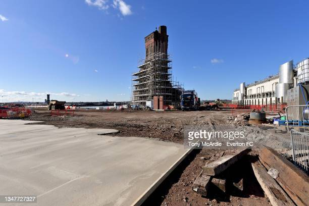 October 15: A general view of Bramley-Moore Dock during the construction of a new stadium for Everton FC on October 15 2021 in Liverpool, England.