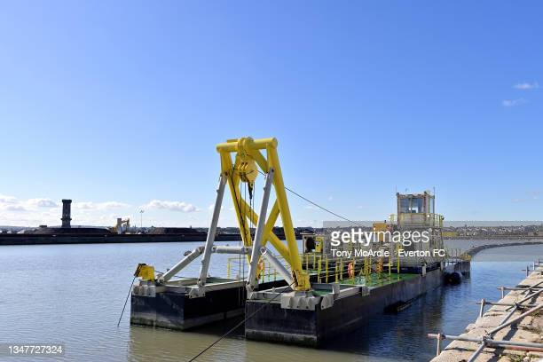 October 15: A general view of Bramley-Moore Dock during the dock infill stage as construction of a new stadium for Everton FC continues on October 15...